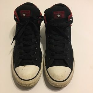 Converse High Top Mens blk/red chunky shoes sz 10